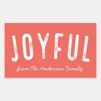 Vintage Typographic Holiday Joyful Rectangular Sticker