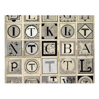 Vintage Typographical Letters Postcard