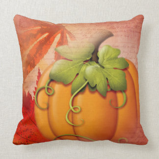 Vintage Typography Autumn leaves and Pumpkin Throw Pillow