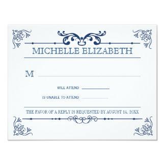 Vintage Typography Bar-Bat Mitzvah Reply Card