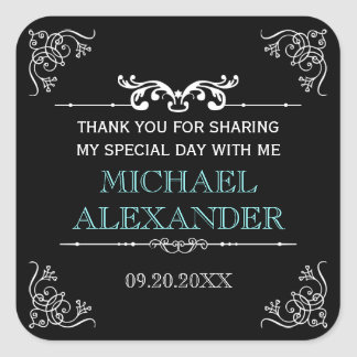 Vintage Typography Bar-Bat Mitzvah Square Sticker