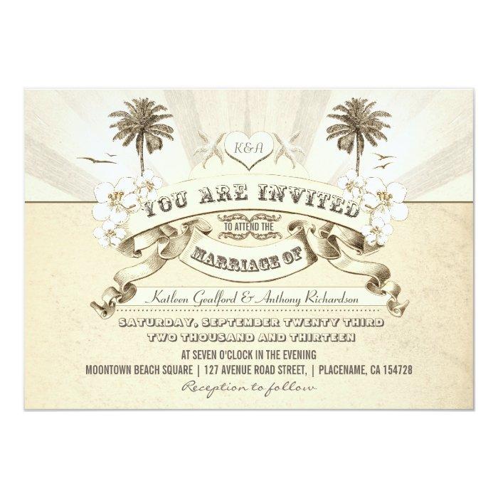 Vintage Beach Wedding Invitations: Vintage Typography Beach Wedding Invitations