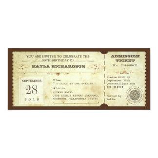 vintage typography birthday tickets card