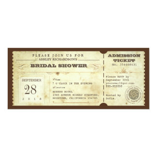 "vintage typography bridal shower tickets 4"" x 9.25"" invitation card"