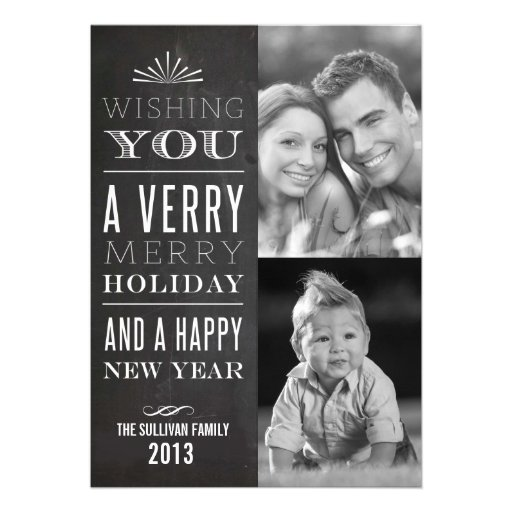 Vintage Typography Chalkboard Holiday Photo Card