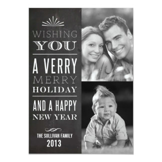 "Vintage Typography Chalkboard Holiday Photo Card 5"" X 7"" Invitation Card"