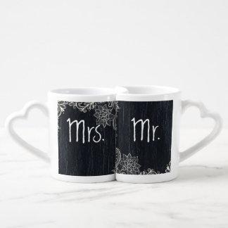 vintage typography  Chalkboard mr and mrs Coffee Mug Set
