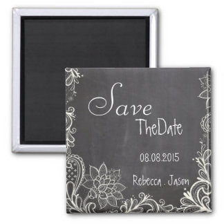 vintage typography  Chalkboard save the date Square Magnet