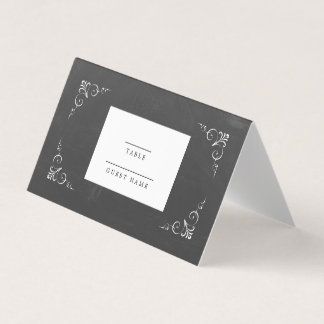 Vintage Typography Chalkboard Wedding Place Card