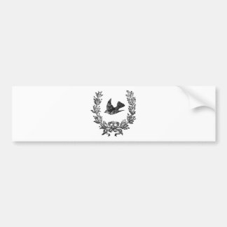 vintage typography design dove & wreath bird bumper sticker