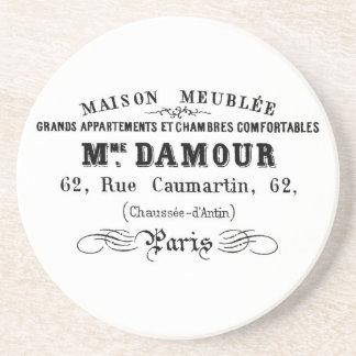 Vintage typography design M'Damour Beverage Coasters
