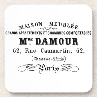Vintage typography design M'Damour Beverage Coaster