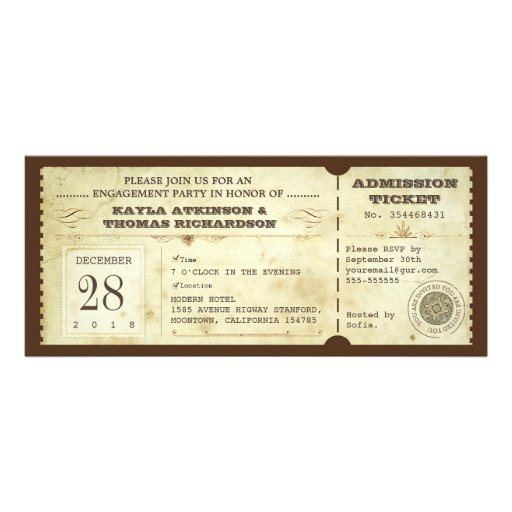 vintage typography engagement party tickets invites