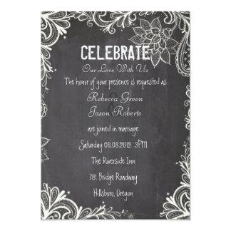 vintage typography flourish Chalkboard Wedding 13 Cm X 18 Cm Invitation Card