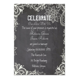 vintage typography flourish Chalkboard Wedding Custom Invitation