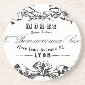 Vintage Typography French Ribbon Modes design Coaster