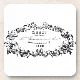 Vintage Typography French Ribbon Modes design Coasters