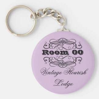 Vintage typography hotel room purple key ring