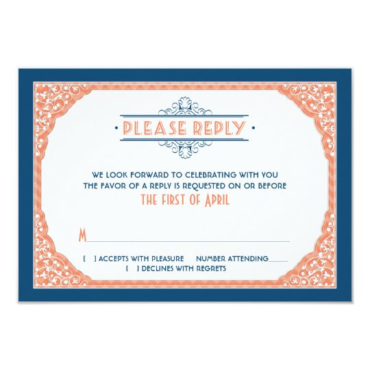 Vintage Typography Navy Blue Coral Wedding RSVP Card