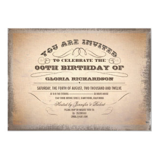 vintage typography old birthday invitations