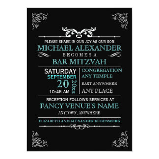 Vintage Typography Poster Bar-Bat Mitzvah Card