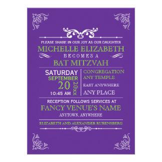 Vintage Typography Poster Bar-Bat Mitzvah Custom Invitation