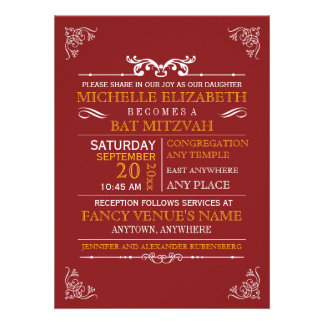Vintage Typography Poster Bar-Bat Mitzvah Invite