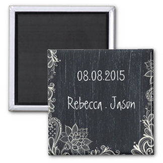 Vintage Typography rustic chalkboard save the date Square Magnet