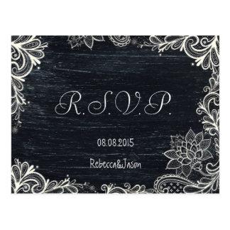 Vintage Typography rustic chalkboard wedding rsvp Postcard