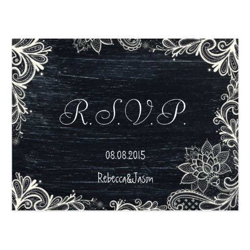 Vintage Typography rustic chalkboard wedding rsvp Postcards