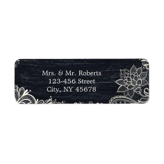 Vintage Typography rustic wedding chalkboard Return Address Label
