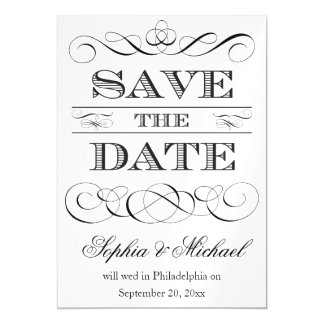 Vintage Typography Save The Date Wedding Magnetic Card