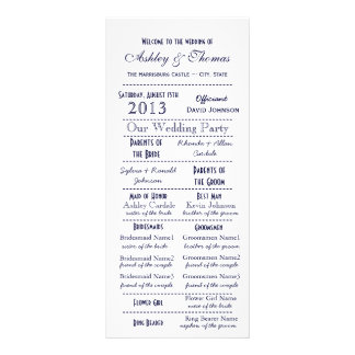 Vintage Typography Style Navy Blue Wedding Program Rack Cards