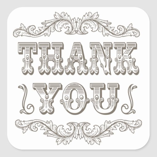 Vintage typography thank you stickers