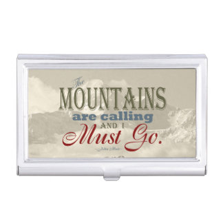 Vintage Typography The mountains are calling; Muir Business Card Holder