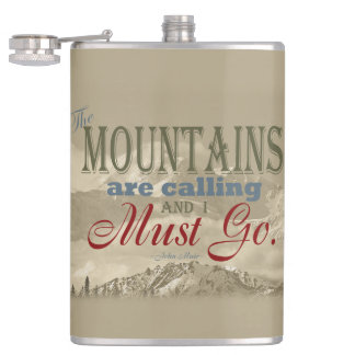 Vintage Typography The mountains are calling; Muir Hip Flask