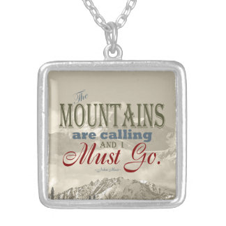 Vintage Typography The mountains are calling; Muir Silver Plated Necklace