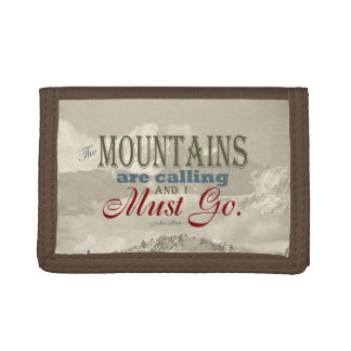 Vintage Typography The mountains are calling; Muir Tri-fold Wallet