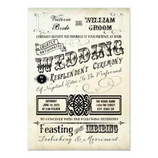 Vintage Typography Wedding 13 Cm X 18 Cm Invitation Card