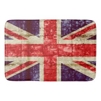Vintage UK flag on a brick wall Bath Mat