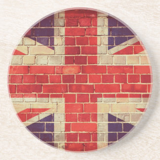 Vintage UK flag on a brick wall Coaster