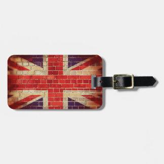 Vintage UK flag on a brick wall Luggage Tag