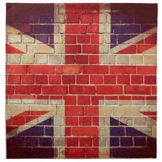 Vintage UK flag on a brick wall Napkin