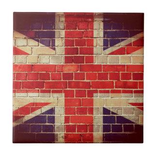 Vintage UK flag on a brick wall Tile