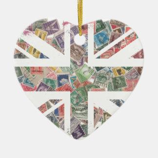 Vintage UK Flag Postage Stamp pattern Ceramic Heart Decoration