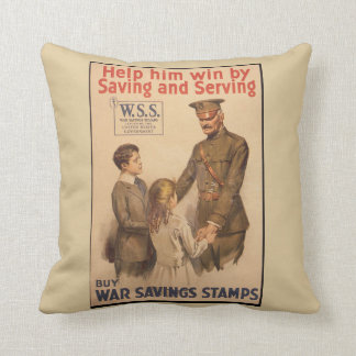Vintage UK War Saving Stamps Cushion