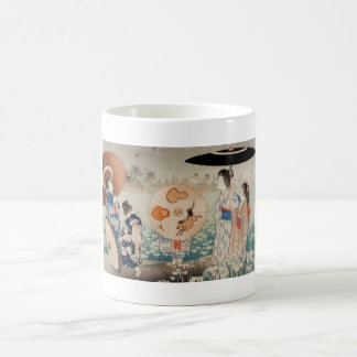 Vintage ukiyo-e japanese ladies with umbrella art coffee mug