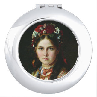 Vintage Ukrainian Girl Mirror For Makeup