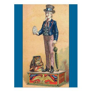 Vintage Uncle Sam Coin Bank Post Cards