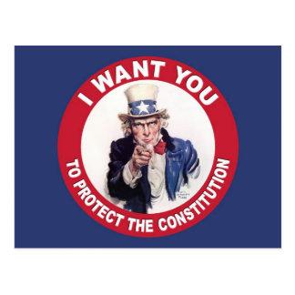 Vintage Uncle Sam I WANT YOU - Constitution Postcard
